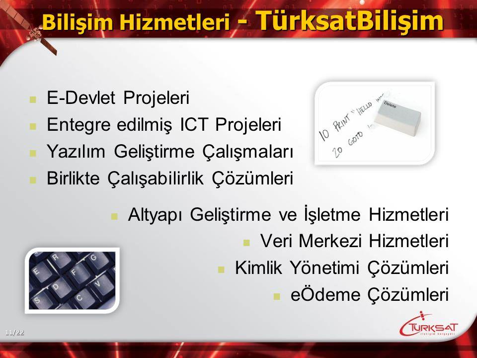 11/22 Bilişim Hizmetleri - TürksatBilişim E-Devlet Projeleri Entegre edilmiş ICT Projeleri Yazılım Geliştirme Çalışmaları Birlikte Çalışabilirlik Çözümleri Altyapı Geliştirme ve İşletme Hizmetleri Veri Merkezi Hizmetleri Kimlik Yönetimi Çözümleri eÖdeme Çözümleri