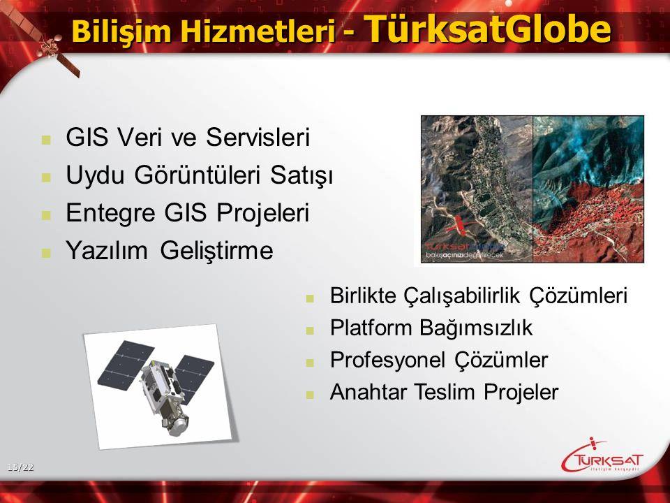 15/22 Bilişim Hizmetleri - TürksatGlobe GIS Veri ve Servisleri Uydu Görüntüleri Satışı Entegre GIS Projeleri Yazılım Geliştirme Birlikte Çalışabilirlik Çözümleri Platform Bağımsızlık Profesyonel Çözümler Anahtar Teslim Projeler