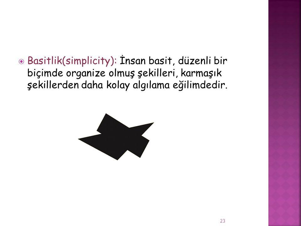  Basitlik(simplicity): İnsan basit, düzenli bir biçimde organize olmuş şekilleri, karmaşık şekillerden daha kolay algılama eğilimdedir. 23