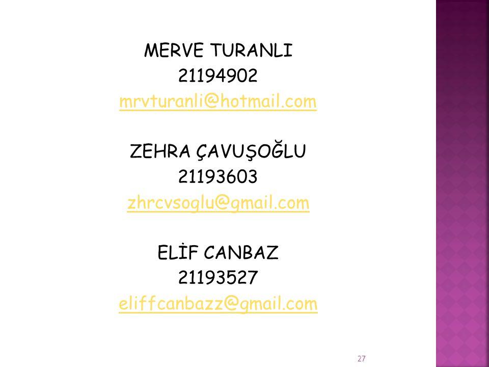 MERVE TURANLI 21194902 mrvturanli@hotmail.com ZEHRA ÇAVUŞOĞLU 21193603 zhrcvsoglu@gmail.com ELİF CANBAZ 21193527 eliffcanbazz@gmail.com 27