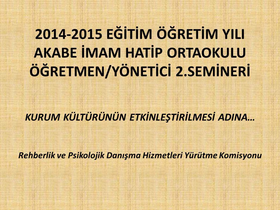 2014-2015 EĞİTİM ÖĞRETİM YILI AKABE İMAM HATİP ORTAOKULU ÖĞRETMEN/YÖNETİCİ 2.SEMİNERİ KURUM KÜLTÜRÜNÜN ETKİNLEŞTİRİLMESİ ADINA… Rehberlik ve Psikolojik Danışma Hizmetleri Yürütme Komisyonu