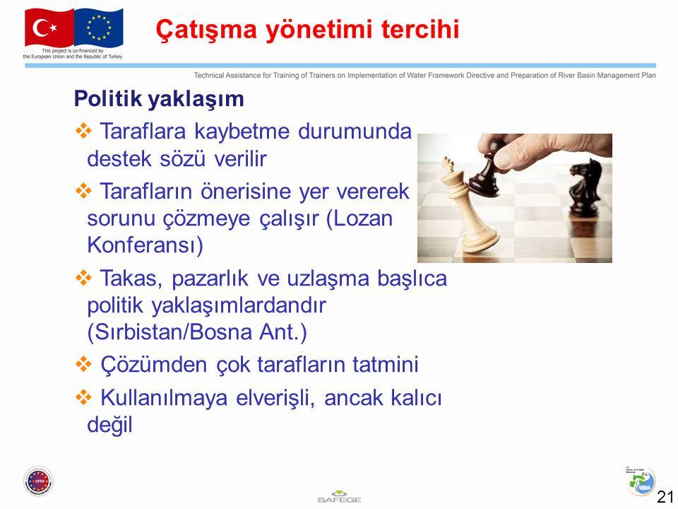 Politik yaklaşım  Taraflara kaybetme durumunda destek sözü verilir  Tarafların önerisine yer vererek sorunu çözmeye çalışır (Lozan Konferansı)  Takas, pazarlık ve uzlaşma başlıca politik yaklaşımlardandır (Sırbistan/Bosna Ant.)  Çözümden çok tarafların tatmini  Kullanılmaya elverişli, ancak kalıcı değil 21 Çatışma yönetimi tercihi 21