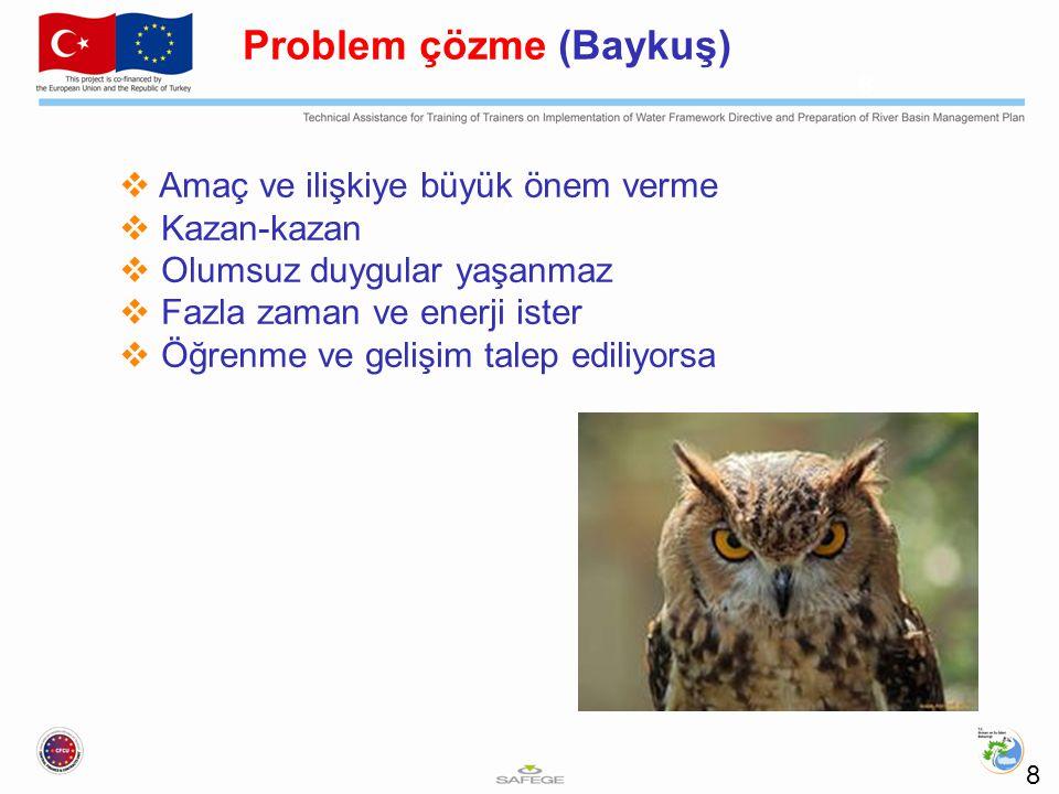 8 Problem çözme (Baykuş)  Amaç ve ilişkiye büyük önem verme  Kazan-kazan  Olumsuz duygular yaşanmaz  Fazla zaman ve enerji ister  Öğrenme ve gelişim talep ediliyorsa 8