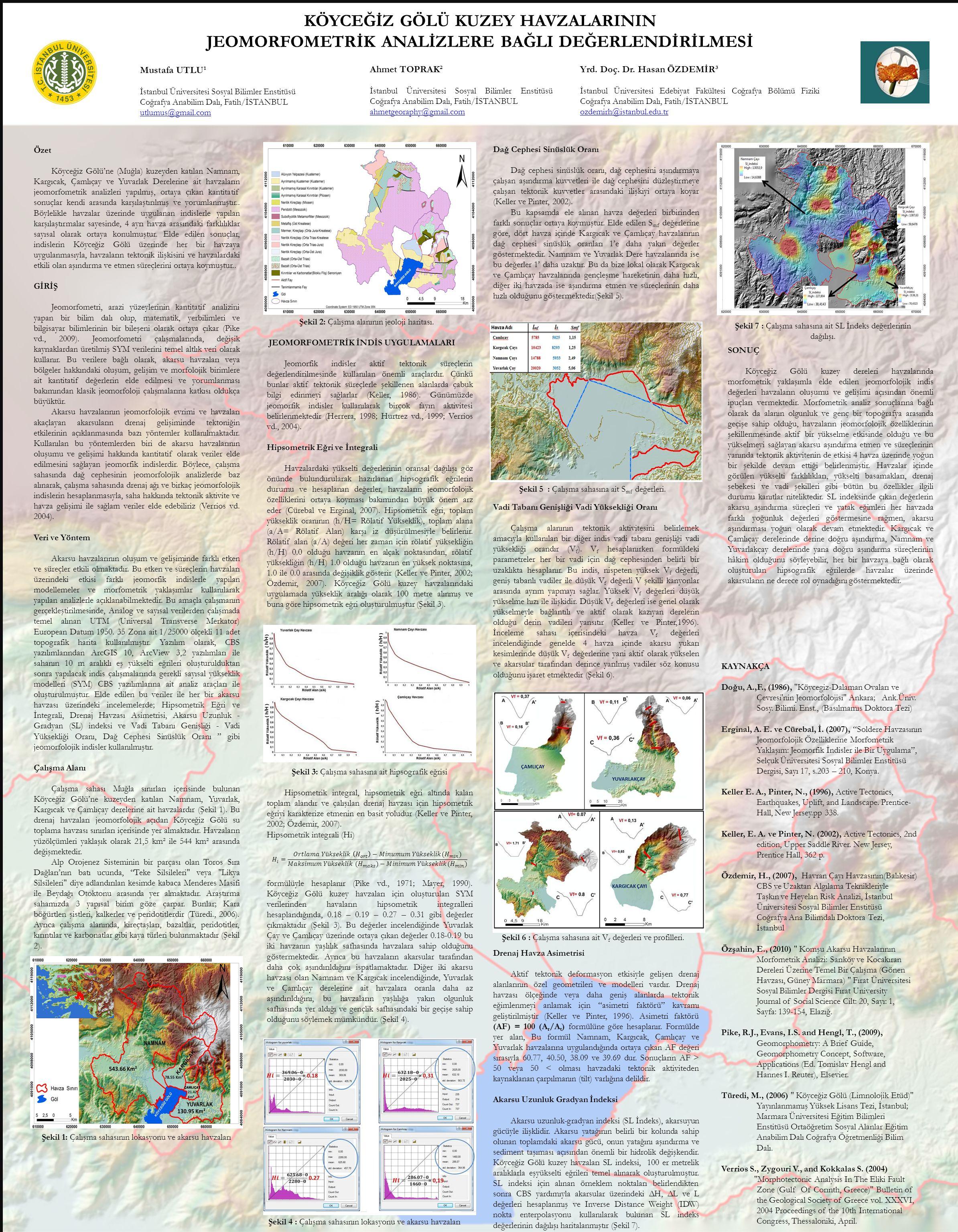 Özet Köyceğiz Gölü'ne (Muğla) kuzeyden katılan Namnam, Kargıcak, Çamlıçay ve Yuvarlak Derelerine ait havzaların jeomorfometrik analizleri yapılmış, ortaya çıkan kantitatif sonuçlar kendi arasında karşılaştırılmış ve yorumlanmıştır..