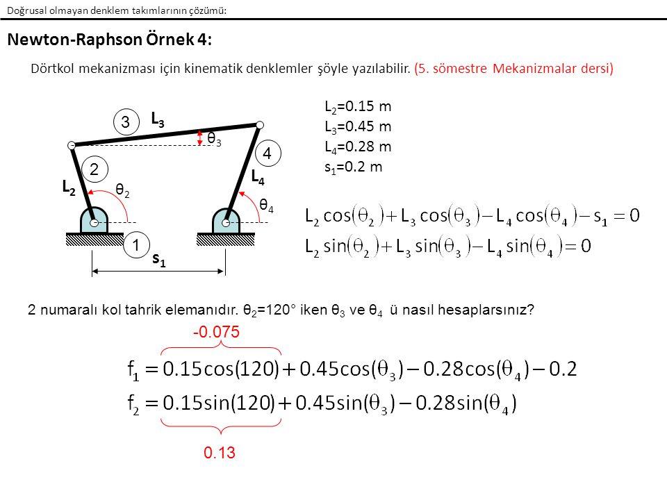 Doğrusal olmayan denklem takımlarının çözümü: Newton-Raphson Örnek 4: Dörtkol mekanizması için kinematik denklemler şöyle yazılabilir.