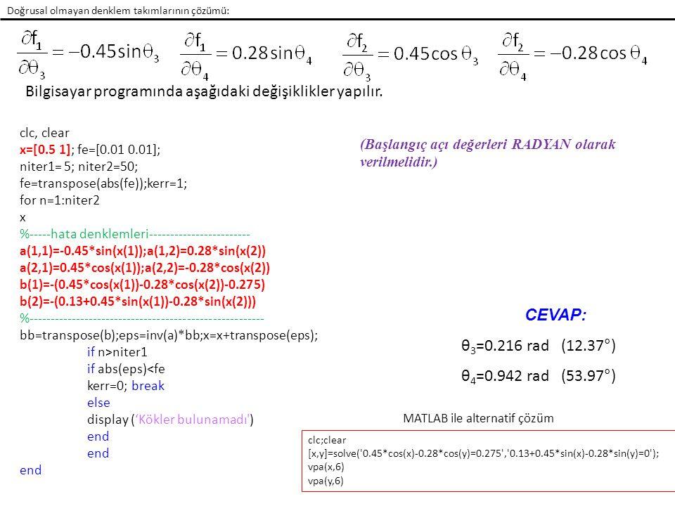 Newton-Raphson Örnek 5: Bir krank mekanizmasının kinematik denklemleri aşağıda verilmiştir.