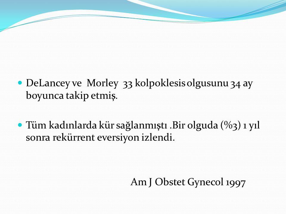 DeLancey ve Morley 33 kolpoklesis olgusunu 34 ay boyunca takip etmiş. Tüm kadınlarda kür sağlanmıştı.Bir olguda (%3) 1 yıl sonra rekürrent eversiyon i