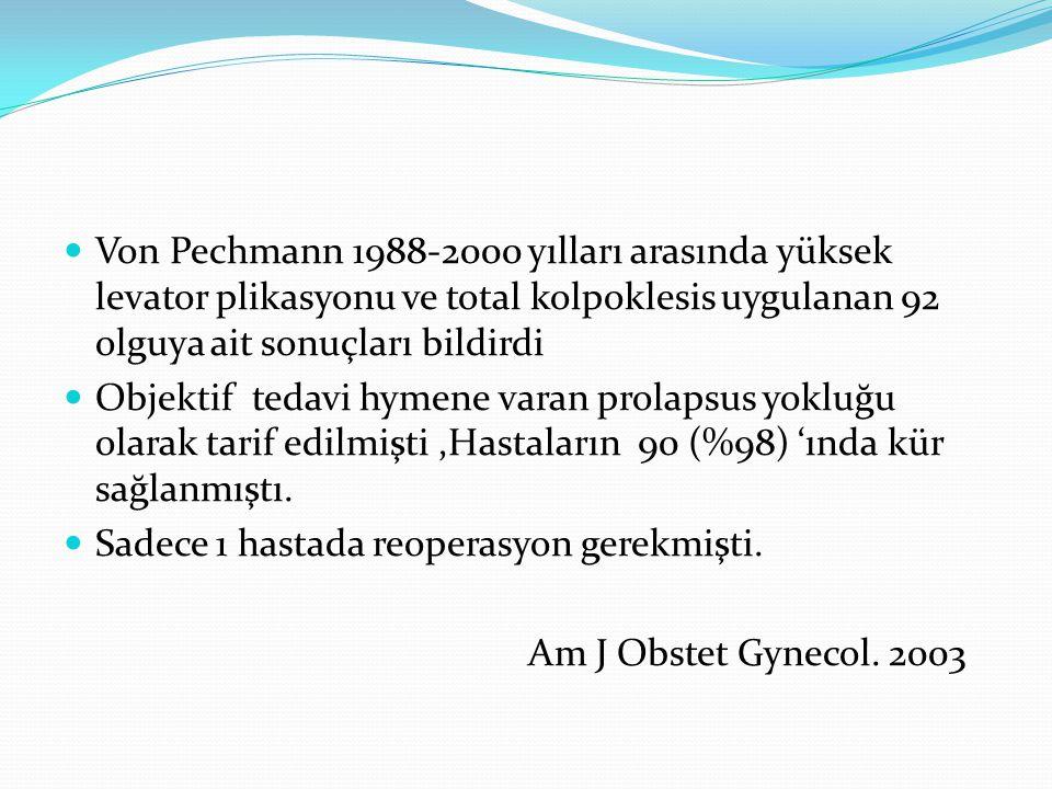 Von Pechmann 1988-2000 yılları arasında yüksek levator plikasyonu ve total kolpoklesis uygulanan 92 olguya ait sonuçları bildirdi Objektif tedavi hyme