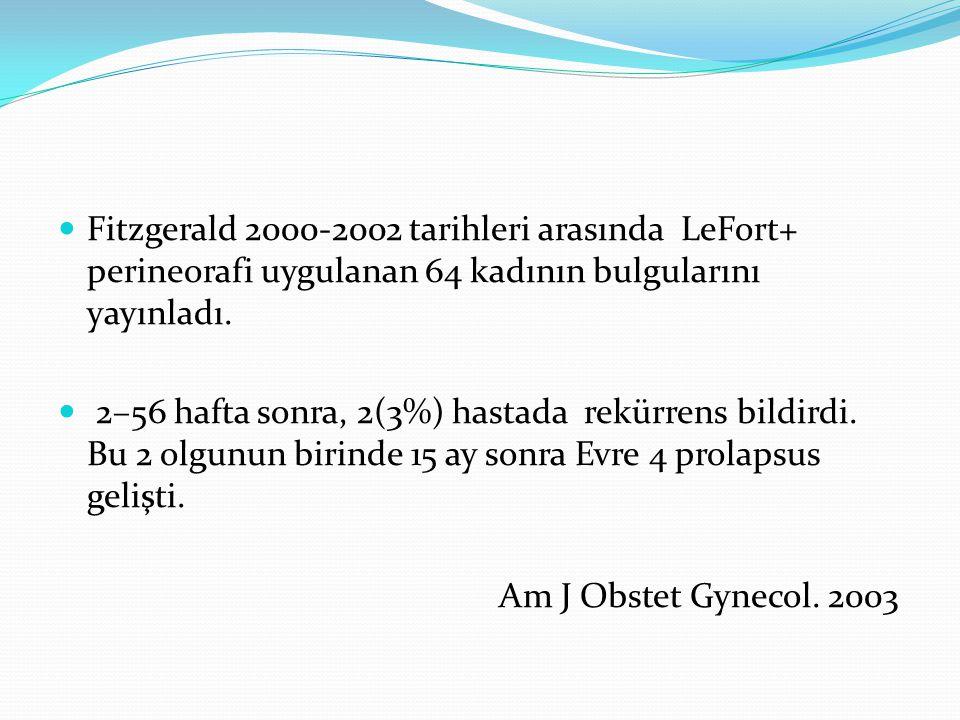 Fitzgerald 2000-2002 tarihleri arasında LeFort+ perineorafi uygulanan 64 kadının bulgularını yayınladı. 2–56 hafta sonra, 2(3%) hastada rekürrens bild