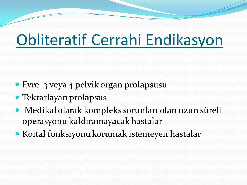 Evre 3 veya 4 pelvik organ prolapsusu Tekrarlayan prolapsus Medikal olarak kompleks sorunları olan uzun süreli operasyonu kaldıramayacak hastalar Koit