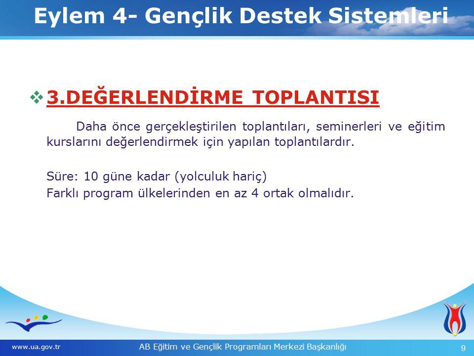 AB Eğitim ve Gençlik Programları Merkezi Başkanlığı 9 Eylem 4- Gençlik Destek Sistemleri www.ua.gov.tr Eylem 4- Gençlik Destek Sistemleri  3.DEĞERLEN