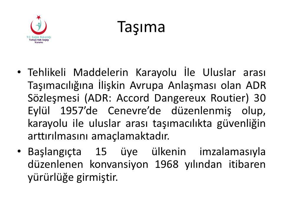Taşıma Tehlikeli Maddelerin Karayolu İle Uluslar arası Taşımacılığına İlişkin Avrupa Anlaşması olan ADR Sözleşmesi (ADR: Accord Dangereux Routier) 30