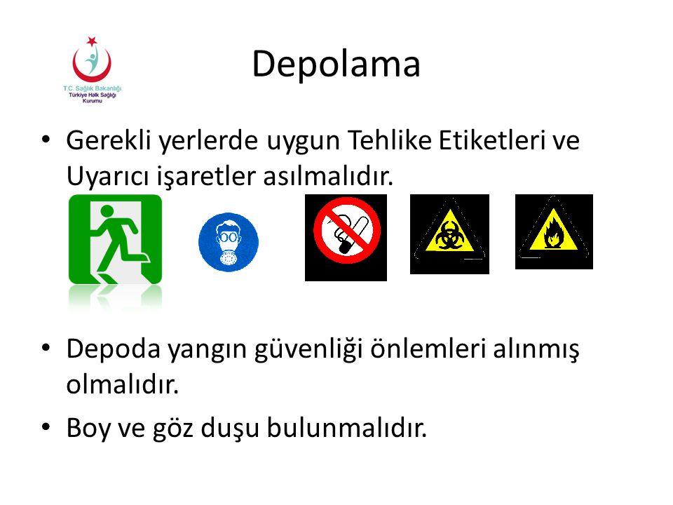 Depolama Gerekli yerlerde uygun Tehlike Etiketleri ve Uyarıcı işaretler asılmalıdır. Depoda yangın güvenliği önlemleri alınmış olmalıdır. Boy ve göz d