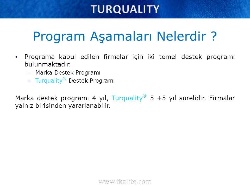 Program Aşamaları Nelerdir ? Programa kabul edilen firmalar için iki temel destek programı bulunmaktadır. – Marka Destek Programı – Turquality ® Deste