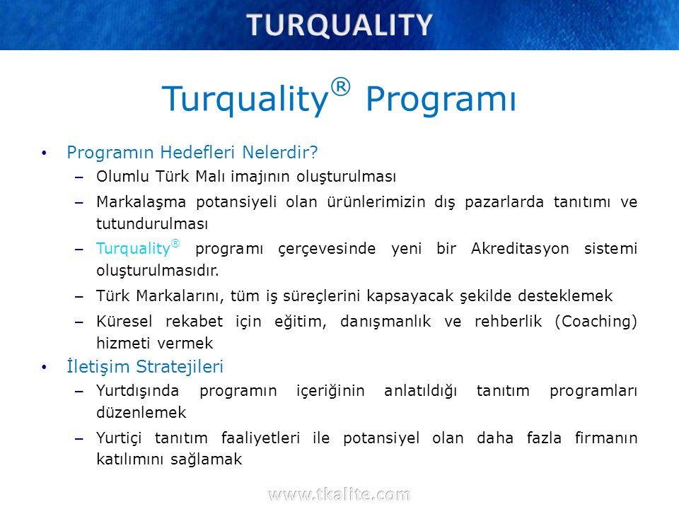 Turquality ® Programı Programın Hedefleri Nelerdir? – Olumlu Türk Malı imajının oluşturulması – Markalaşma potansiyeli olan ürünlerimizin dış pazarlar