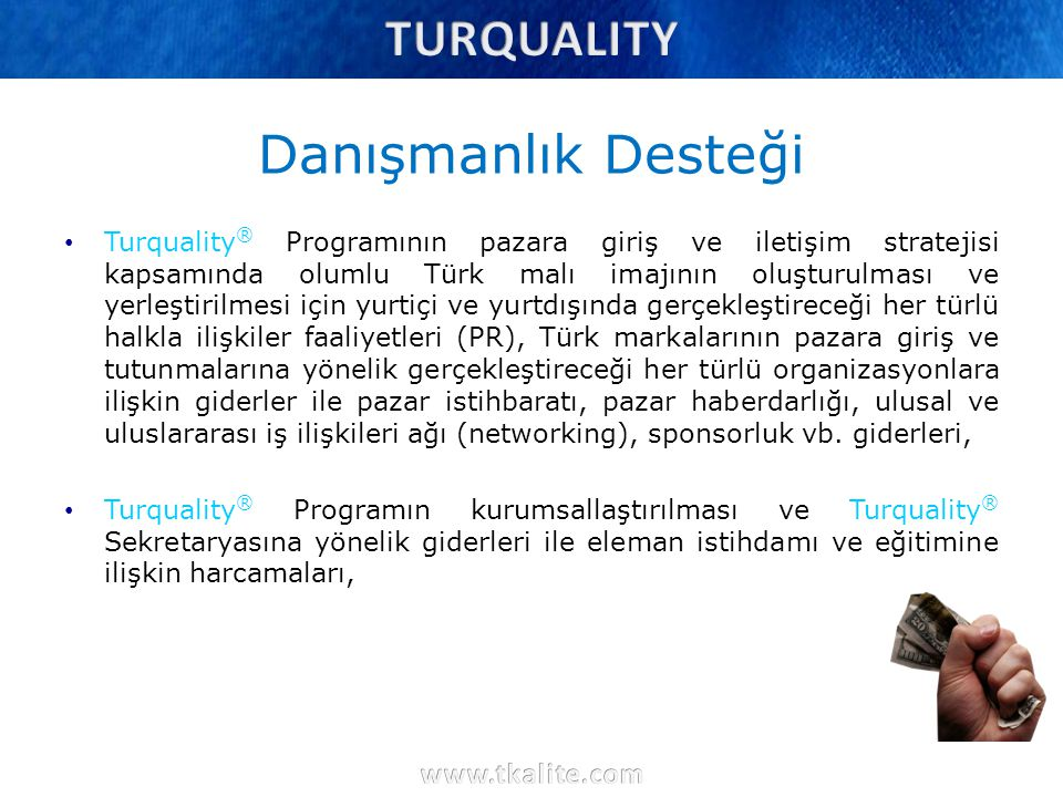 Danışmanlık Desteği Turquality ® Programının pazara giriş ve iletişim stratejisi kapsamında olumlu Türk malı imajının oluşturulması ve yerleştirilmesi