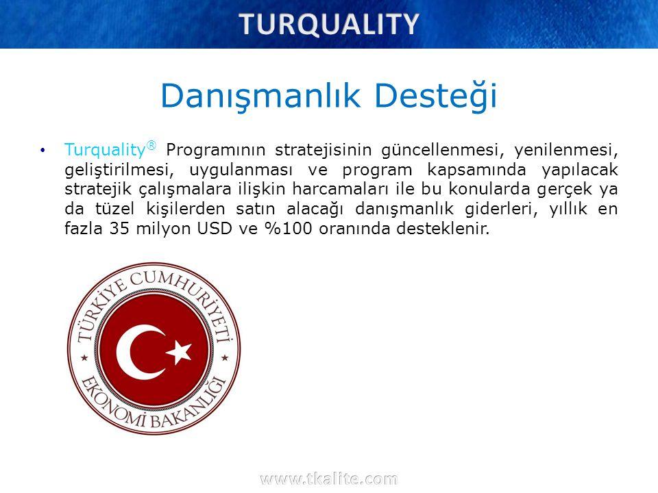 Danışmanlık Desteği Turquality ® Programının stratejisinin güncellenmesi, yenilenmesi, geliştirilmesi, uygulanması ve program kapsamında yapılacak str