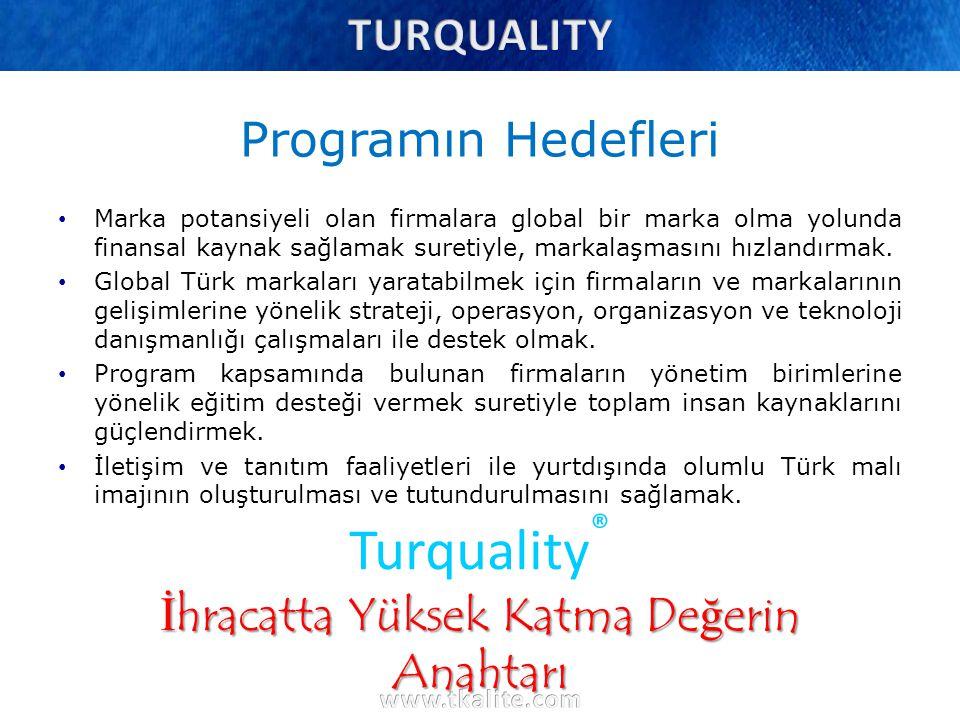 Turquality ® Turquality ® Vizyonu Turquality ® 10 yılda 10 dünya markası yaratmak vizyonuyla; Sadece parasal bir destek olmaktan öte, global marka olma Potansiyeline sahip Türk markalarını her aşamada geliştirmek ve desteklemek.