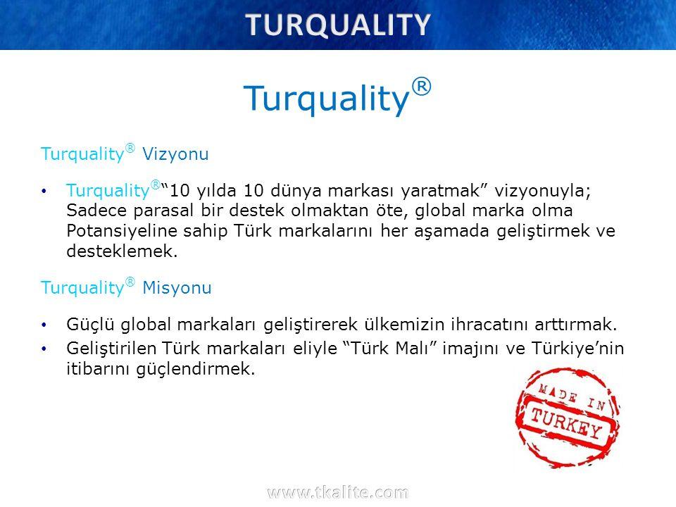 """Turquality ® Turquality ® Vizyonu Turquality ® """"10 yılda 10 dünya markası yaratmak"""" vizyonuyla; Sadece parasal bir destek olmaktan öte, global marka o"""