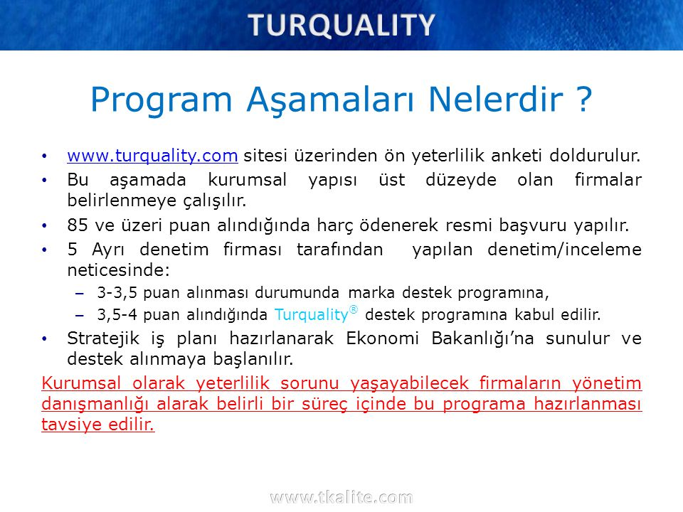 Program Aşamaları Nelerdir ? www.turquality.com sitesi üzerinden ön yeterlilik anketi doldurulur. www.turquality.com Bu aşamada kurumsal yapısı üst dü