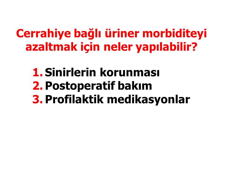 Cerrahiye bağlı üriner morbiditeyi azaltmak için neler yapılabilir? 1.Sinirlerin korunması 2.Postoperatif bakım 3.Profilaktik medikasyonlar