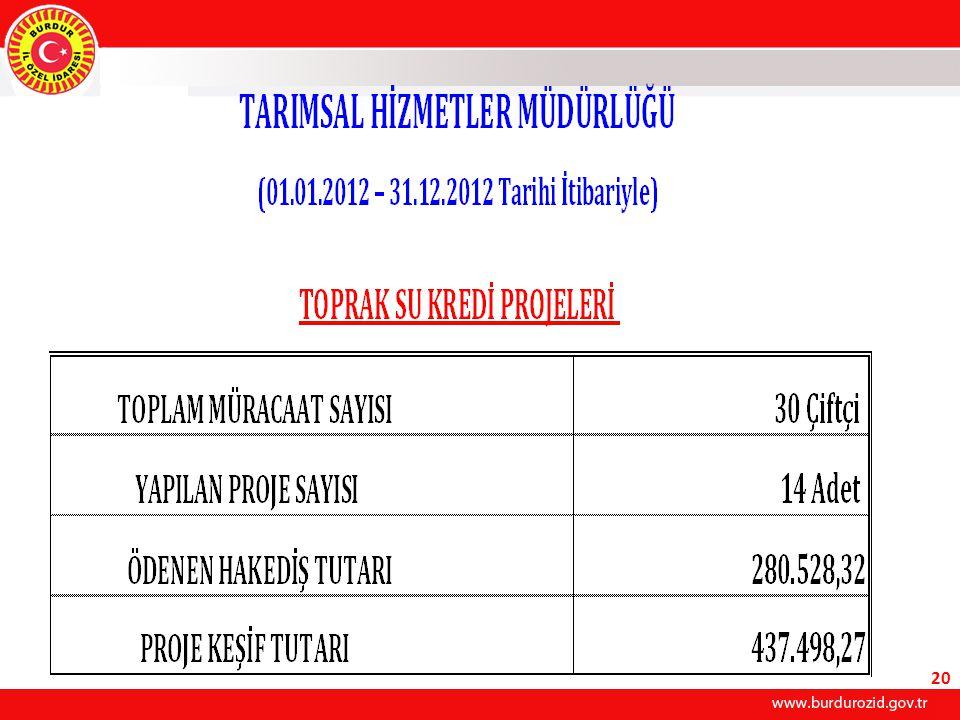 2012 YILI YATIRIM PROGRAMI DAHİLİNDE SULAMA TESİSİ YAPILAN KÖYLERİMİZ ( 01.01.2012 – 31.12.2012 ) Sıra No İlçesiKöyü Uzunluğu (mt.) Sulamaya Açılan Saha (Ha.) KonusuAçıklamalar 1-MerkezTaşkapı3.00030YAS sulama B İ T T İ 2-MerkezKumluca2.50050YAS sulamaB İ T T İ 3-BucakÜrkütlü7.65080YAS sulamaB İ T T İ 4-TefenniBeyköy11.300216YAS sulamaB İ T T İ TOPLAM24.450376 21