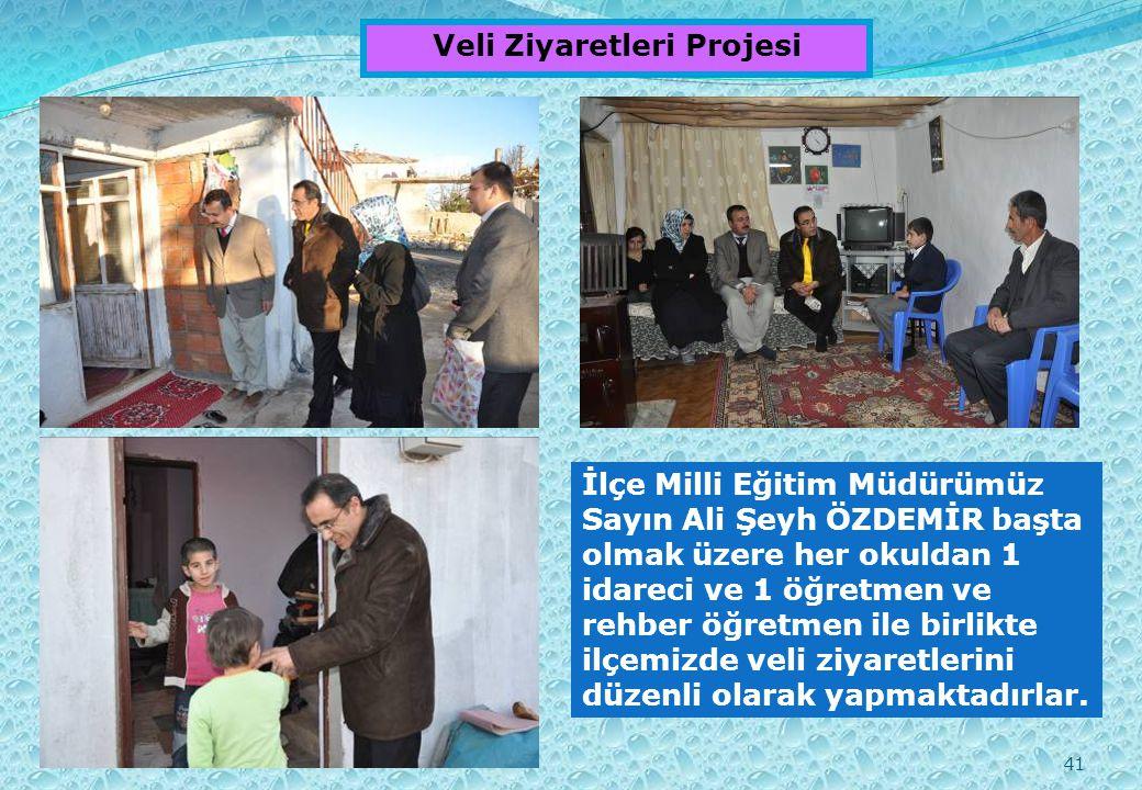 41 Veli Ziyaretleri Projesi İlçe Milli Eğitim Müdürümüz Sayın Ali Şeyh ÖZDEMİR başta olmak üzere her okuldan 1 idareci ve 1 öğretmen ve rehber öğretmen ile birlikte ilçemizde veli ziyaretlerini düzenli olarak yapmaktadırlar.