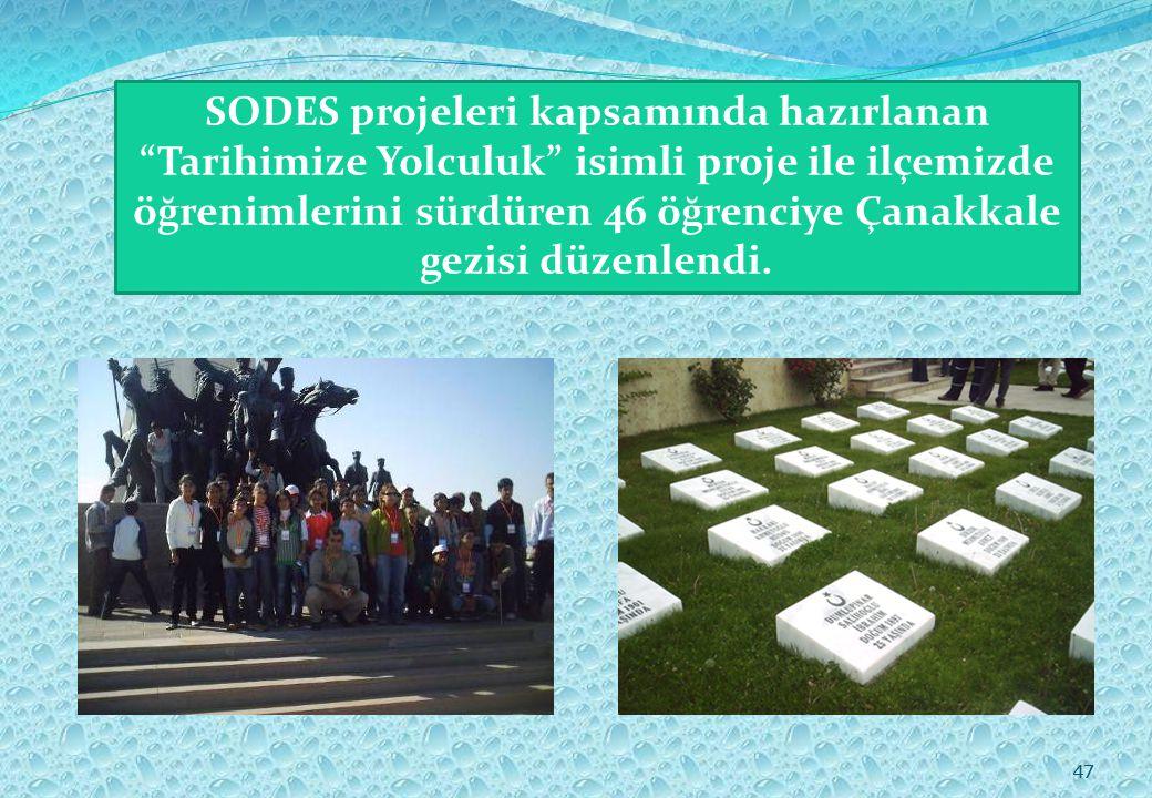 47 SODES projeleri kapsamında hazırlanan Tarihimize Yolculuk isimli proje ile ilçemizde öğrenimlerini sürdüren 46 öğrenciye Çanakkale gezisi düzenlendi.