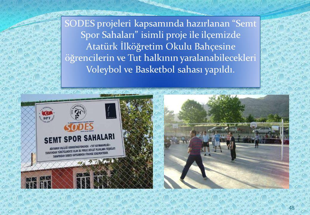 48 SODES projeleri kapsamında hazırlanan Semt Spor Sahaları isimli proje ile ilçemizde Atatürk İlköğretim Okulu Bahçesine öğrencilerin ve Tut halkının yaralanabilecekleri Voleybol ve Basketbol sahası yapıldı.