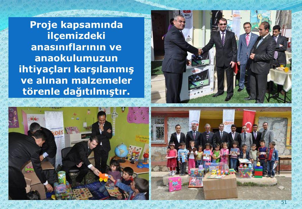 51 Proje kapsamında ilçemizdeki anasınıflarının ve anaokulumuzun ihtiyaçları karşılanmış ve alınan malzemeler törenle dağıtılmıştır.
