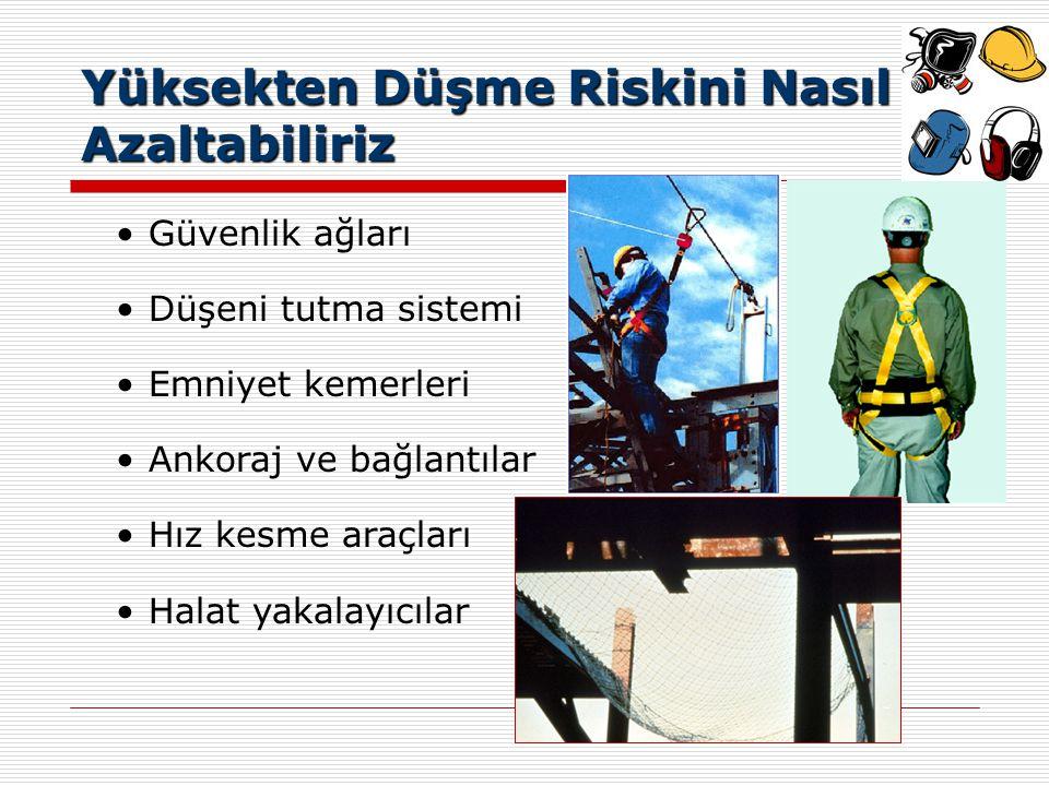 Yüksekten Düşme Riskini Nasıl Azaltabiliriz İskeleler de dahil olmak üzere korkuluklar İnsan kaldırma sepetleri Merdivenler Geçici iş platformları Güvenlik bağlantıları