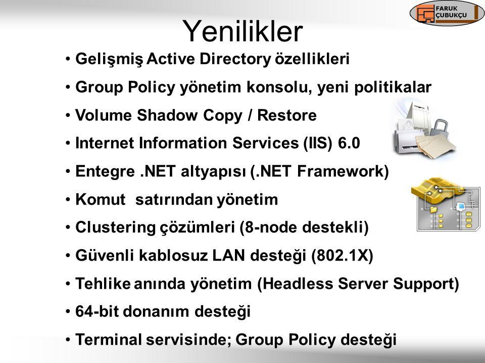 Gelişmiş Active Directory özellikleri Group Policy yönetim konsolu, yeni politikalar Volume Shadow Copy / Restore Internet Information Services (IIS) 6.0 Entegre.NET altyapısı (.NET Framework) Komut satırından yönetim Clustering çözümleri (8-node destekli) Güvenli kablosuz LAN desteği (802.1X) Tehlike anında yönetim (Headless Server Support) 64-bit donanım desteği Terminal servisinde; Group Policy desteği Yenilikler