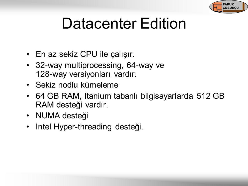 Datacenter Edition En az sekiz CPU ile çalışır. 32-way multiprocessing, 64-way ve 128-way versiyonları vardır. Sekiz nodlu kümeleme 64 GB RAM, Itanium