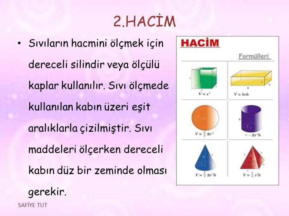 2.HACİM Sıvıların hacmini ölçmek için dereceli silindir veya ölçülü kaplar kullanılır. Sıvı ölçmede kullanılan kabın üzeri eşit aralıklarla çizilmişti