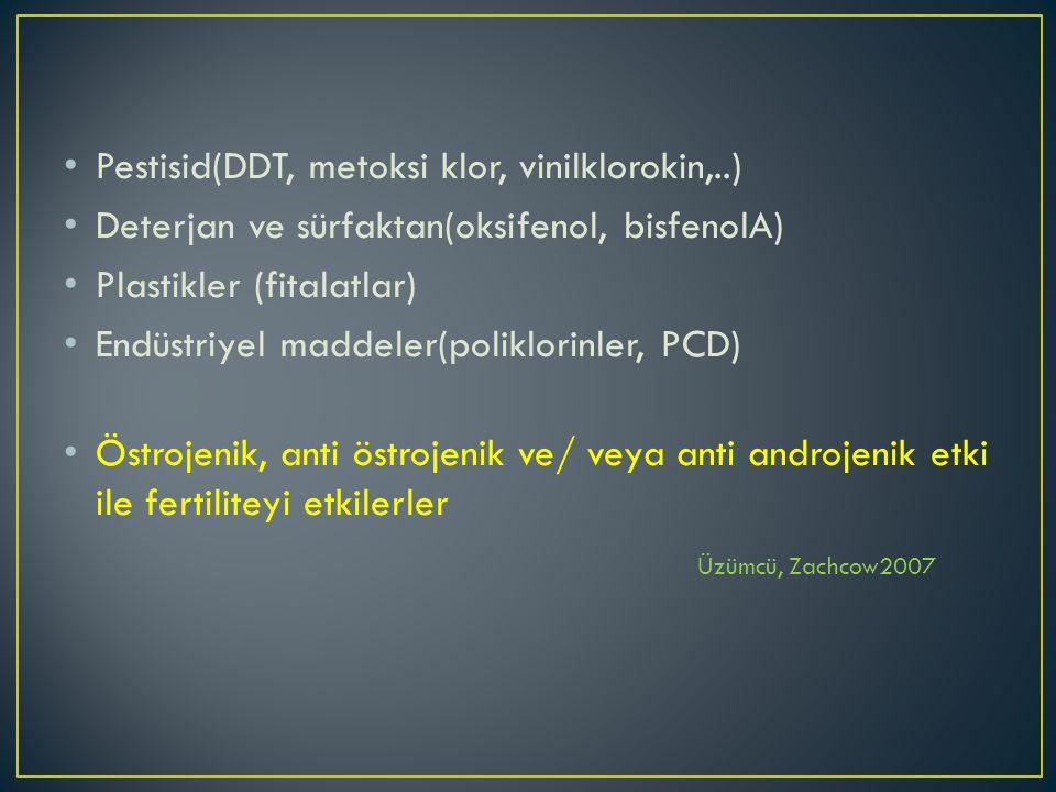 Pestisid(DDT, metoksi klor, vinilklorokin,..) Deterjan ve sürfaktan(oksifenol, bisfenolA) Plastikler (fitalatlar) Endüstriyel maddeler(poliklorinler, PCD) Östrojenik, anti östrojenik ve/ veya anti androjenik etki ile fertiliteyi etkilerler Üzümcü, Zachcow2007
