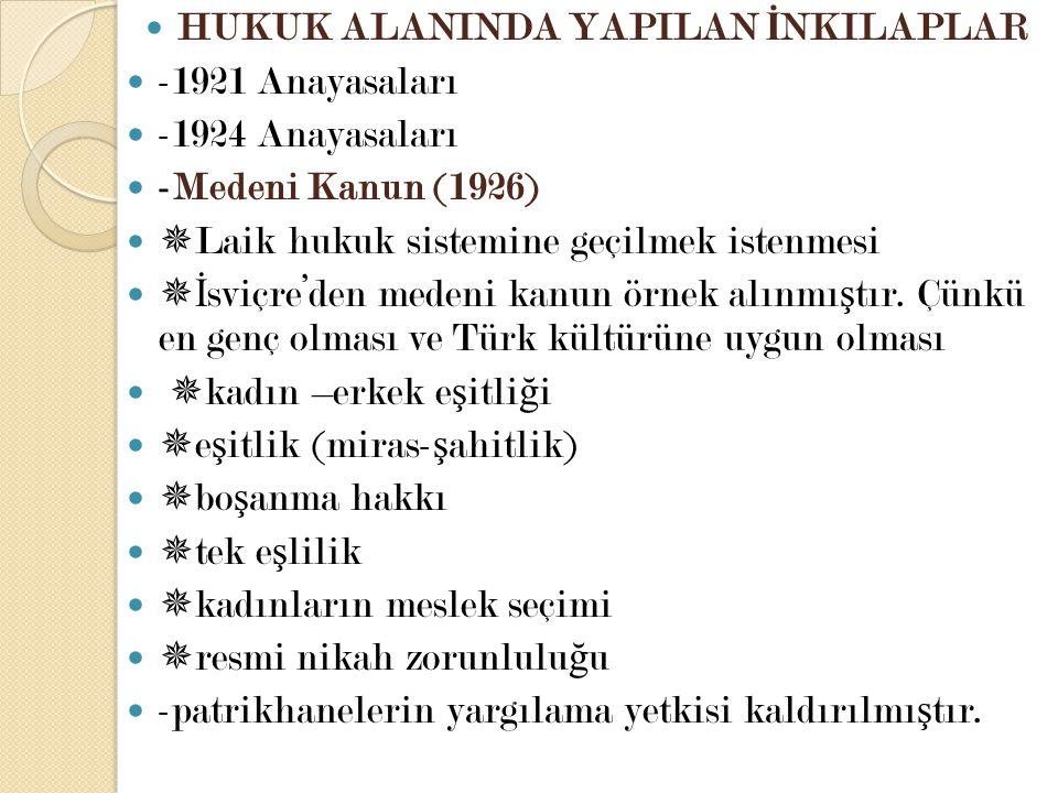 HUKUK ALANINDA YAPILAN İ NKILAPLAR -1921 Anayasaları -1924 Anayasaları -Medeni Kanun (1926)  Laik hukuk sistemine geçilmek istenmesi  İ sviçre'den m