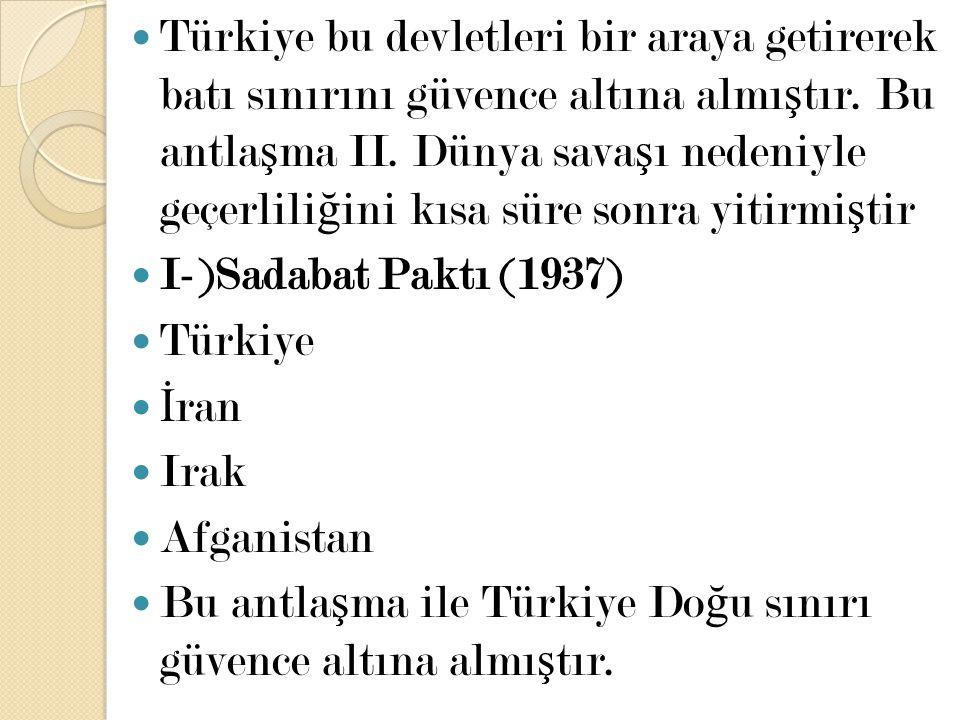 Türkiye bu devletleri bir araya getirerek batı sınırını güvence altına almı ş tır. Bu antla ş ma II. Dünya sava ş ı nedeniyle geçerlili ğ ini kısa sür