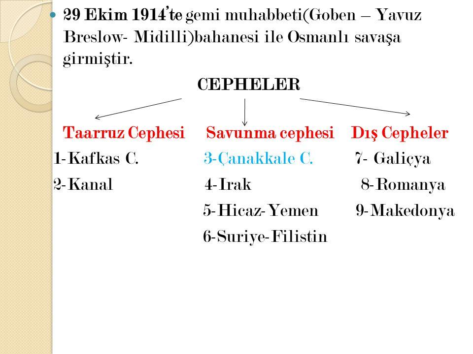 29 Ekim 1914'te gemi muhabbeti(Goben – Yavuz Breslow- Midilli)bahanesi ile Osmanlı sava ş a girmi ş tir. CEPHELER Taarruz Cephesi Savunma cephesi Dı ş