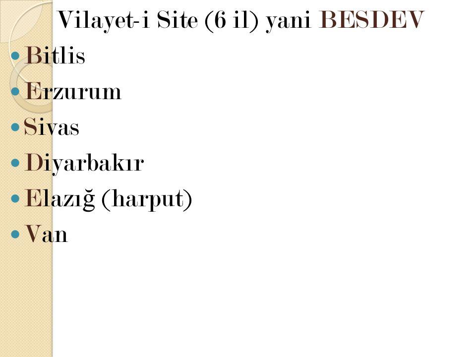 Vilayet-i Site (6 il) yani BESDEV Bitlis Erzurum Sivas Diyarbakır Elazı ğ (harput) Van
