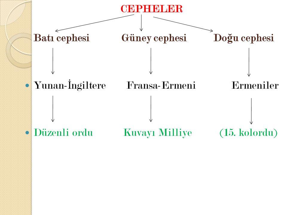 CEPHELER Batı cephesi Güney cephesi Do ğ u cephesi Yunan- İ ngiltere Fransa-Ermeni Ermeniler Düzenli ordu Kuvayı Milliye (15. kolordu)