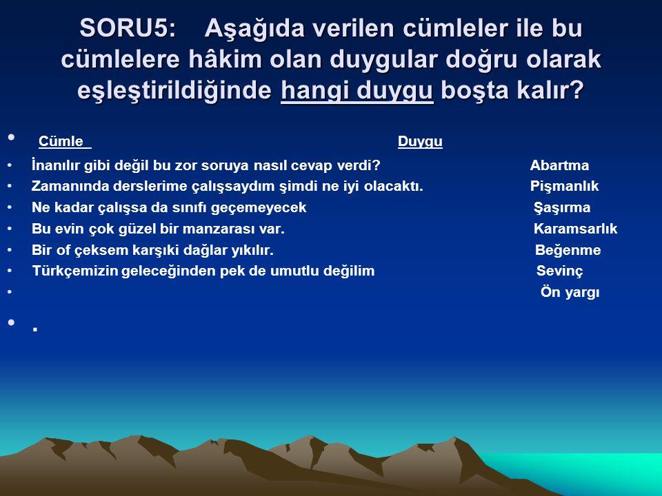 SORU5: Aşağıda verilen cümleler ile bu cümlelere hâkim olan duygular doğru olarak eşleştirildiğinde hangi duygu boşta kalır? Cümle Duygu İnanılır gibi