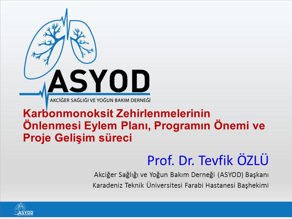 Karbonmonoksit Zehirlenmelerinin Önlenmesi Eylem Planı, Programın Önemi ve Proje Gelişim süreci Prof. Dr. Tevfik ÖZLÜ Akciğer Sağlığı ve Yoğun Bakım D