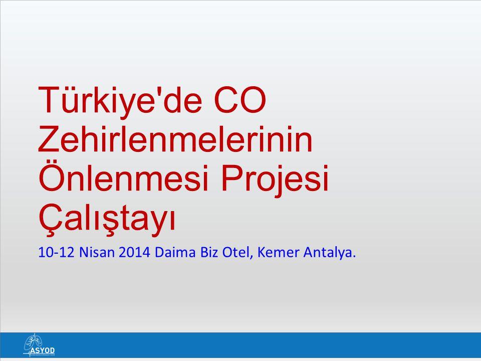 Türkiye'de CO Zehirlenmelerinin Önlenmesi Projesi Çalıştayı 10-12 Nisan 2014 Daima Biz Otel, Kemer Antalya.