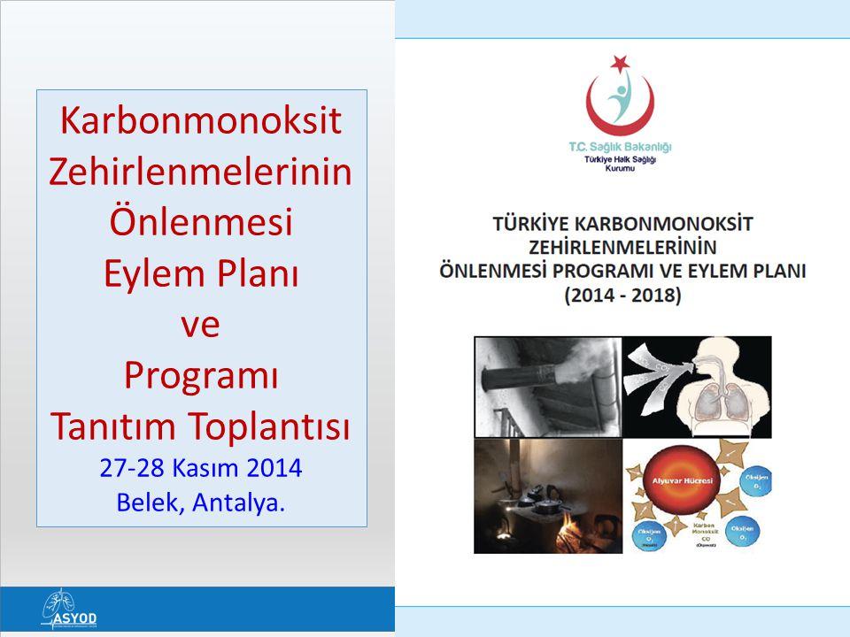 Karbonmonoksit Zehirlenmelerinin Önlenmesi Eylem Planı ve Programı Tanıtım Toplantısı 27-28 Kasım 2014 Belek, Antalya.