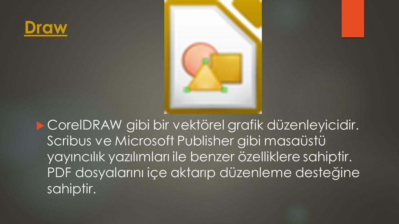 Draw  CorelDRAW gibi bir vektörel grafik düzenleyicidir. Scribus ve Microsoft Publisher gibi masaüstü yayıncılık yazılımları ile benzer özelliklere s
