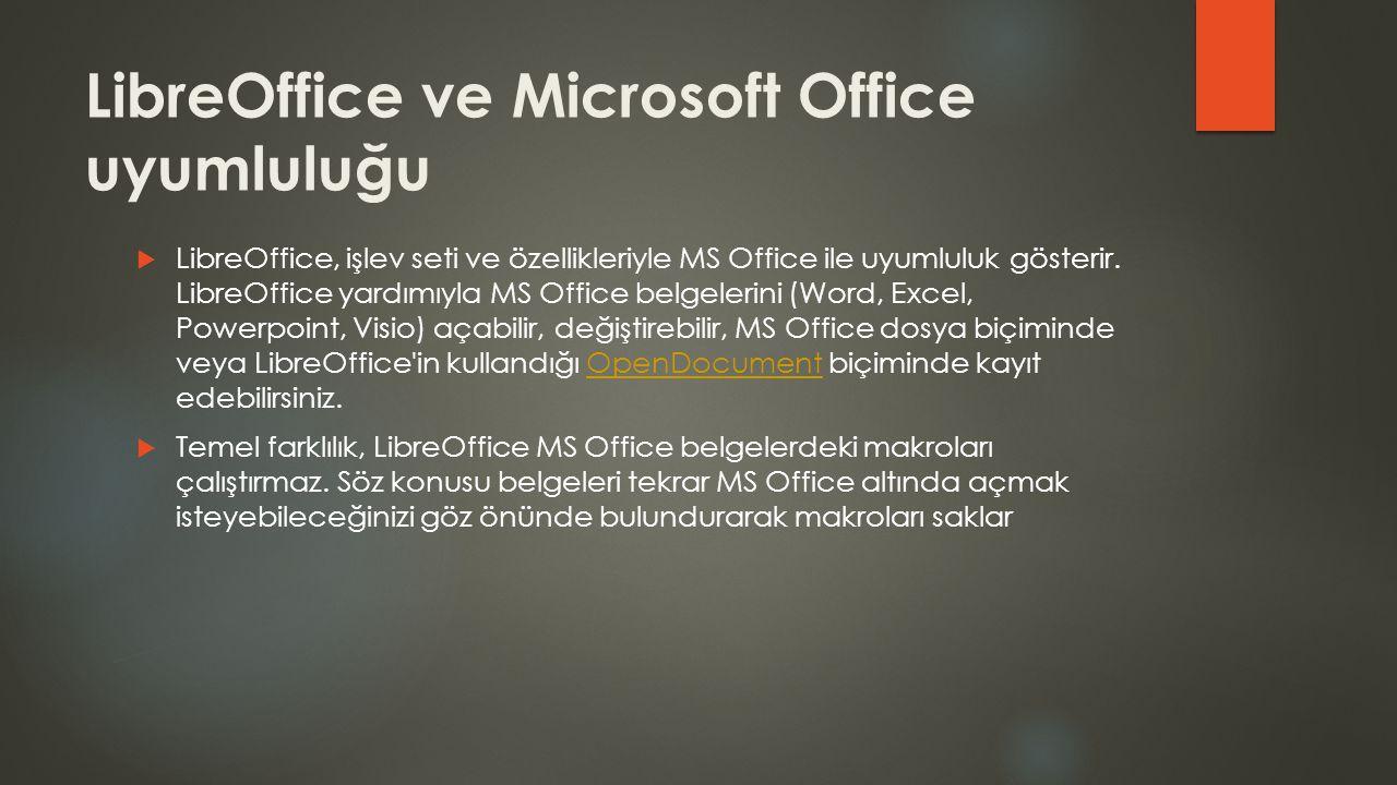 LibreOffice ve Microsoft Office uyumluluğu  LibreOffice, işlev seti ve özellikleriyle MS Office ile uyumluluk gösterir. LibreOffice yardımıyla MS Off