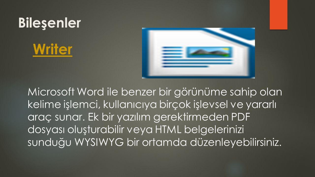 Bileşenler Writer Microsoft Word ile benzer bir görünüme sahip olan kelime işlemci, kullanıcıya birçok işlevsel ve yararlı araç sunar. Ek bir yazılım