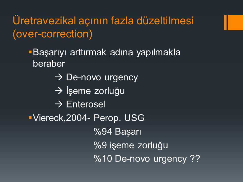 Üretravezikal açının fazla düzeltilmesi (over-correction)  Başarıyı arttırmak adına yapılmakla beraber  De-novo urgency  İşeme zorluğu  Enterosel  Viereck,2004- Perop.