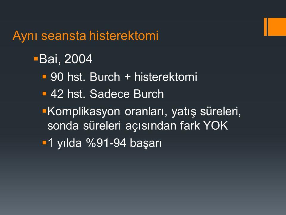 Aynı seansta histerektomi  Bai, 2004  90 hst.Burch + histerektomi  42 hst.