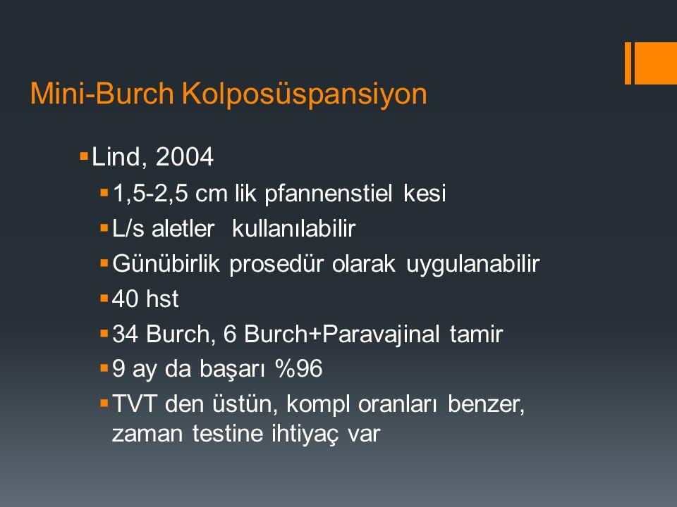 Mini-Burch Kolposüspansiyon  Lind, 2004  1,5-2,5 cm lik pfannenstiel kesi  L/s aletler kullanılabilir  Günübirlik prosedür olarak uygulanabilir  40 hst  34 Burch, 6 Burch+Paravajinal tamir  9 ay da başarı %96  TVT den üstün, kompl oranları benzer, zaman testine ihtiyaç var